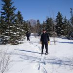 Snow shoeing on community trail