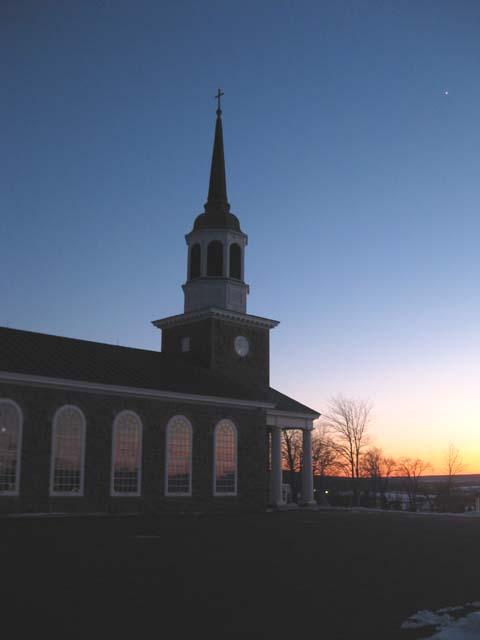 St Andrews Church sunset Venus rising