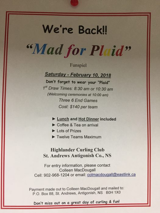 Mad for Plaid Bonspiel 2018