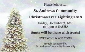 St. Andrews Community Christmas tree lighting 6:30pm Dec 1, 2018 at SASHA
